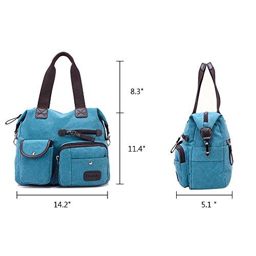 voyage Gindoly femme Shopping à Toile Multi travail pour Sac l'école Sacs tout à Grand Bleu de et poches sac Hobo bandoulière fourre main pour tqIwOAH