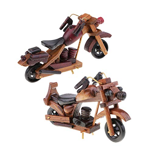 Prettyia 1:18 Wood Racing Motorcycle Model Handcraft Wood Model for Motorbike Fans Hobby Collectibles