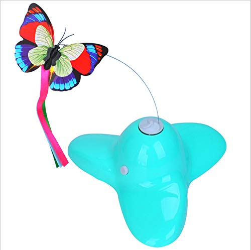 NIJY Cat Play Interactive Toy Electric redating Butterfly Flying Flying Luminous Funny Cat Stick Pet Supplies bluee