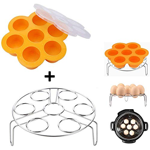 Orange Silicone Egg Bites Molds With Stainless Steel Egg Steamer Rack for Instant Pot Accessories, Pressure Cooker Food Steamer, Vegetable Steam Rack Stand and Reusable Storage ()