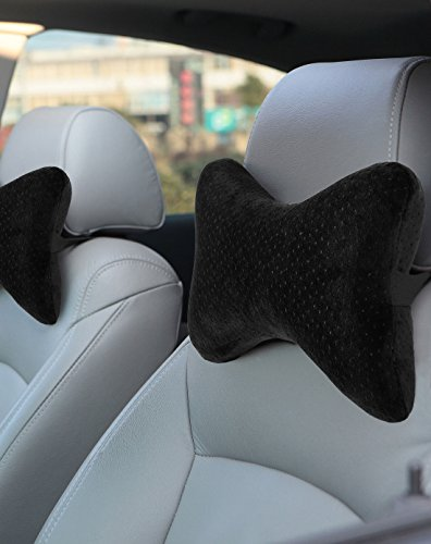AERIS Car Neck Pillow for Head Support, Premium Memory Foam Headrest Pillow with Adjustable Strap and Portable Bag, Maximum Neck Support for Car Seat, Can be Used as a Small (Car Headrest Pillow)