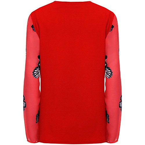 Mujeres Más mujer manga larga Chifón Estampado de mariposa Transparencia Cárdigan Blazer 8-28 Rojo