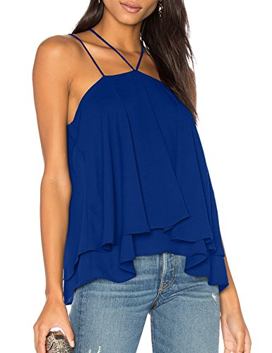 ALLY-MAGIC Women's Sleeveless Tank Tops Double Strap Layered Chiffon Blouse C4732 (L, Royal) ()
