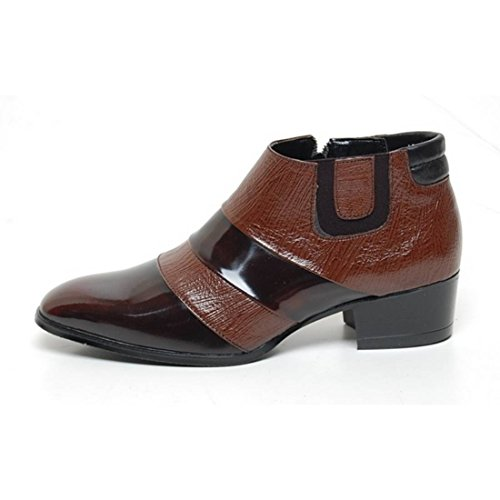 Epicstep Mens Scarpe In Vera Pelle Vestito Formale Business Casual Bicolore Ankle Boots Marrone