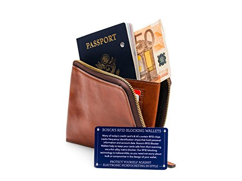 [Bosca  Men's Dolce Collection - Zip Passport Travel Document Amber Handbag] (Bosca Bag)