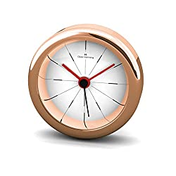 Oliver Hemming Rose Gold Miniature Alarm Clock with Contemporary Dial
