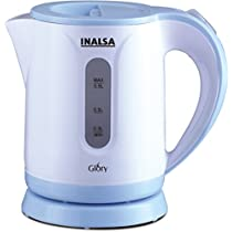 Inalsa Glory PCE 0.9-Litre Cordless Electric Kettle (White/Blue)