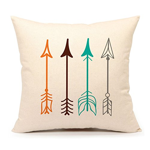 "Inspirational Quote Throw Pillow Case Cushion Cover Decorative Cotton Linen 18"" x 18\"" Set of 4(Adventure Awaits,Dream Explore Discover, Ethnic Arrows, Feathers)"
