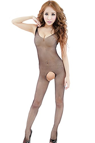 Women Fishnet Body stocking Lingerie Chemise Sleeveless Nightwear Open pants (black) by Xinkaishi
