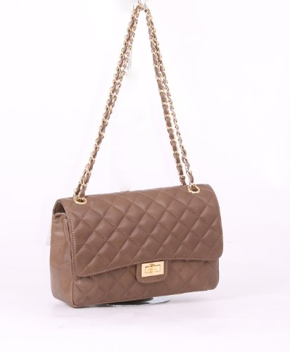 Dark Quilted Gold Italian Designer Leather Trims Inspired Taupe Handbag with Taupe PgRFA