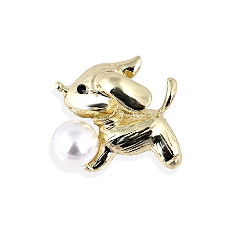 Reizteko Golden Tone Dog Animal Feature Feather with Pearl Brooch Pin (Dog)