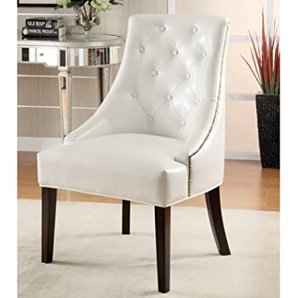 Amazoncom Coaster Bonded Leather Accent Chair White Decorative