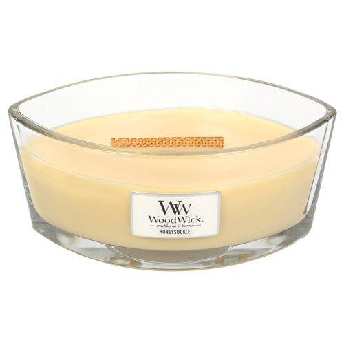 Woodwick 76071eu Chèvrefeuille Heart hwick Flame Bougie parfumée dans Verre, 454g, Jaune, 19,5x 11.4x 8,8cm