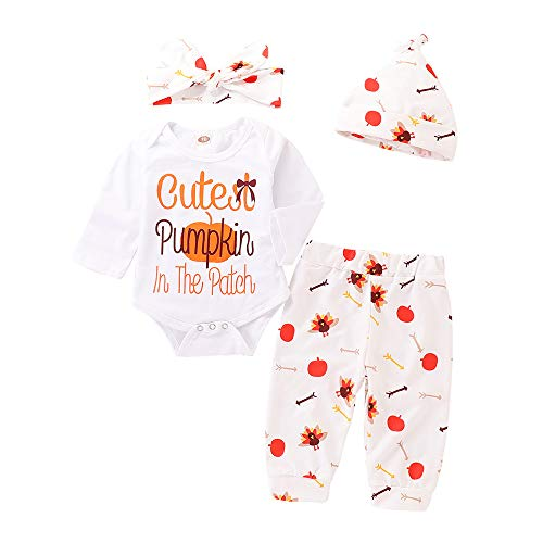 Mikrdoo 4Pcs Set My First Thanksgiving Outfit Toddler Baby Long Sleeve Romper Tops+ Pants + Hat + Headband Clothes Set (0-3 Months, White)