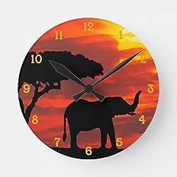 Pattebom Kenya Safari Elephant Wildlife Sunset Watercolor Wood Wall Clocks Decorative Living Room Battery Operated Non Ticking 12 Inches Birthday Christmas
