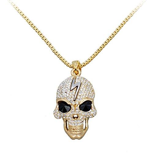Uniqsum Thunder Sparkling Cubic zirconia Black Eyes Skull Necklace Box Chain (Gold) (Tin Man Nose)