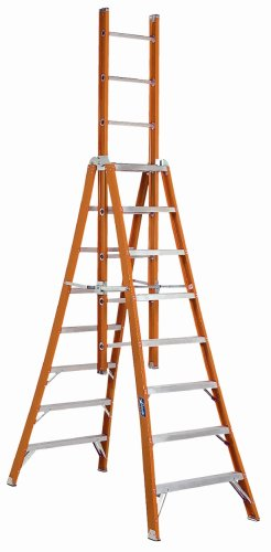 Louisville Ladder FX1110 300-Pound Duty Rating Fiberglass Extension Trestle Ladder, 10-Foot