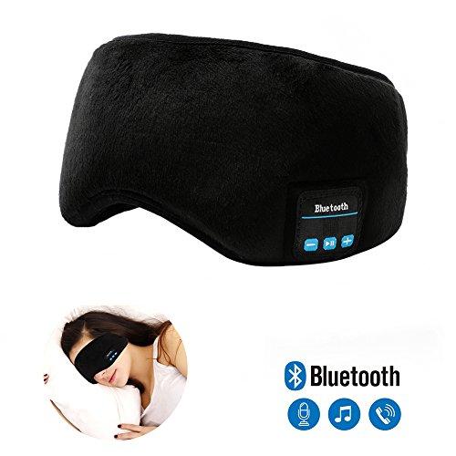 Bluetooth Sleeping Eye Mask Headphones,Lavince Travel Sleeping Headphone 4.1 Bluetooth Eye Mask Handsfree Music Sleep Eye Shades Headset Built-in Speakers Microphone Washable Black