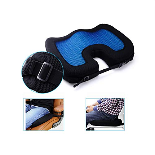 ZHANGZHIYUA Memory Seat Cushion/Back Cushion Combo, Gel Infused & Ventilated, Orthopedic Design. Perfect for Office Chair, Relieves Back, Coccyx, Sciatica,1 by ZHANGZHIYUA (Image #4)