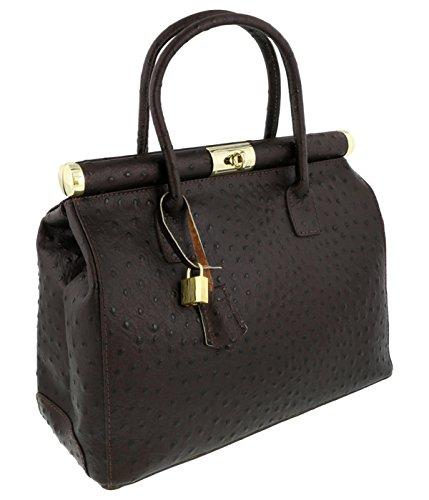 [HS Collection HS8005 SMR MINERVA Dark Brown Satchel/Shoulder Bag] (Minerva Collection Fashion)