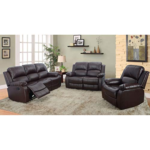 AYCP FURNITURE Brown Bonded Leather 3pc Living Room Reclining Sectional Sofa ()