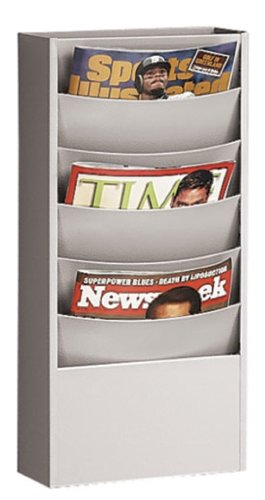 Buddy Products Eclipse 5 Pocket Curved Steel Literature Rack, 4.5 x 20.375 x 9.75 Inches, Platinum (0861-32) ()