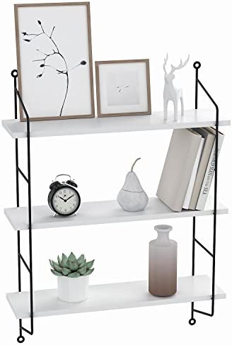 Floating Shelf Wall Mounted Book Shelves 3 Tier Wood Storage Heavy Duty Rack Unit