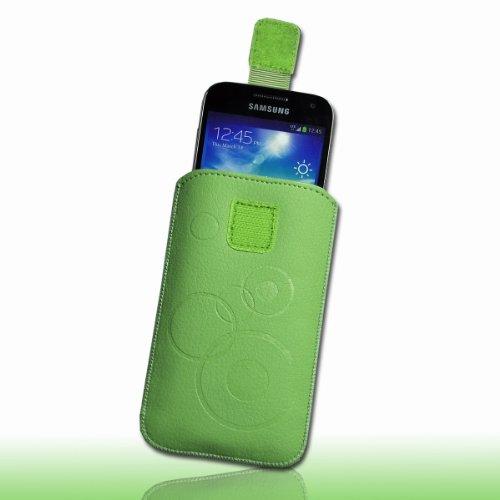 Handy Tasche Hülle Etui Kunstleder grün / minze mit Zugband M76 Gr.3 für Apple iPhone 5 / iPhone 5S / iPhone 5C / Samsung Galaxy ACE 3 S7270 / S7275 / Sony Xperia M / Blackberry Q5 / Vodafone Smart II