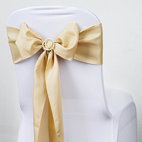 BalsaCircle 10 Champagne Polyester Chair Sashes Bows Ties - Wedding Party Ceremony Reception Decorations Supplies Wholesale]()