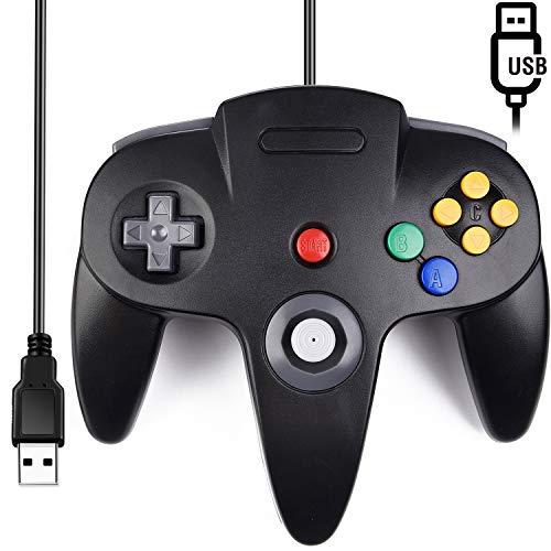 [USB Version] Classic N64 Controller, SAFFUN N64 Wired USB PC Game pad Joystick, N64 Bit USB Wired Game Stick for Windows PC MAC Linux Genesis Raspberry Pi Retropie Emulator [Plug & Play] (Black)