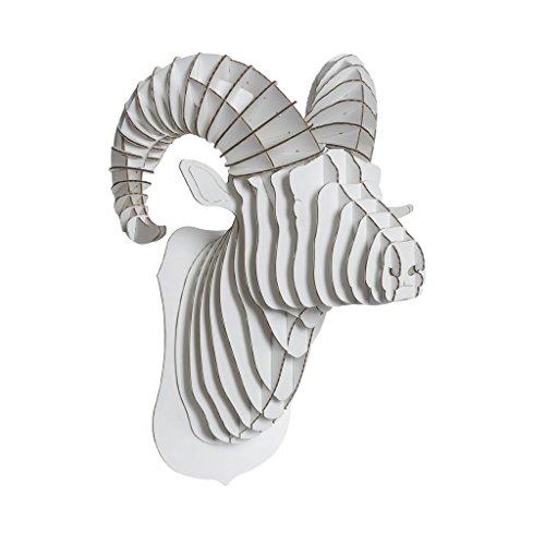 Cardboard Safari Recycled Cardboard Animal Taxidermy Ram Trophy Head, Rocky White Medium
