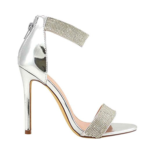 Olivia and Jaymes Luxury Sparkly Open Toe High Heel Ankle Strap Rhinestone Sandals for Women (10, Silver) ()