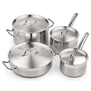 Cooks Standard Professional Stainless Steel Cookware set 8PC, 8 PC, Silver 10