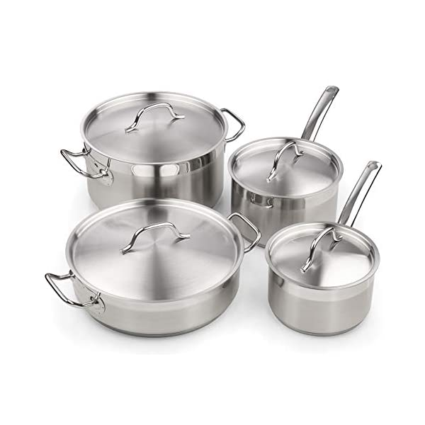 Cooks Standard Professional Stainless Steel Cookware set 8PC, 8 PC, Silver 1