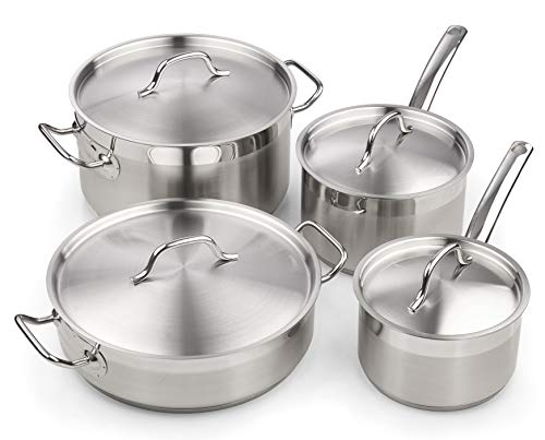 Cooks Standard 02659 Professional Stainless Steel Cookware set 8PC, 8 PC, Silver