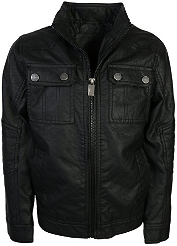 (Urban Republic Boy\'s Faux Leather Officer Jacket, Black, Size 8')