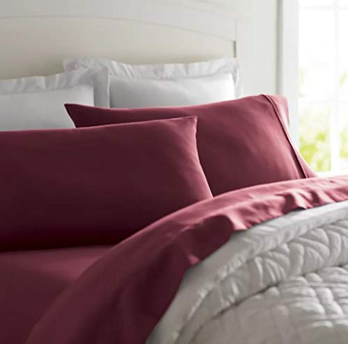 Deluxe Tradition Crisp, Breathable and Lavishly Soft 100% Long Staple Cotton Adjustabel Bed Sheets Split King; Rich Burgundy 300 Thread Count Sateen Weave