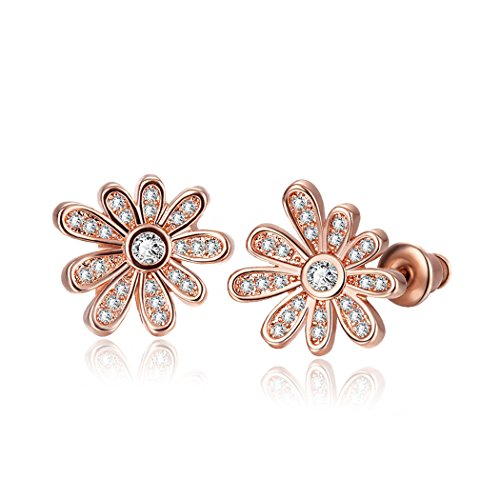 Price comparison product image Duo La Lovely Flower 18K Rose Gold Plated Cubic Zirconia Fashion Charm Lady Stud Earrings