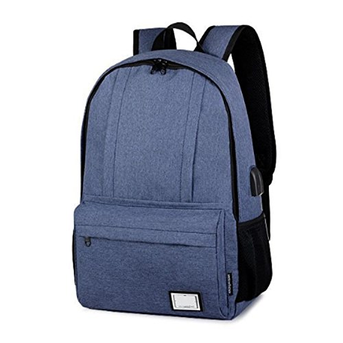 KIKIYA Mochila antirrobo Tech Mochila con USB de carga y puerto de auriculares para hombres Mujeres Slim Light-Weight School Gaming Business College Bag Azul