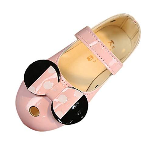 (iYBUIA Dark Butterfly Summer Lovely Kids Baby Girls Dark Bowknot Polka Dot Non-Slip Single Shoes Sneakers Pink)