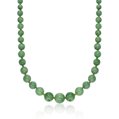 Bead Gold Graduated (Ross-Simons 6-13mm Graduated Green Jade Bead Necklace With 14kt Yellow Gold)