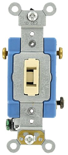 Leviton 1203-2IL 15 Amp, 120/277 Volt, Toggle Locking 3-Way AC Quiet Switch, Extra Heavy Duty Grade, Self Grounding, Back and Side Wired, Ivory ()