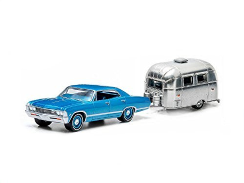 - 1967 Chevrolet Impala Sport Sedan Blue & Airstream Trailer Bambi 16' Hitch & Tow Series 1 1/64 by Greenlight 32010A