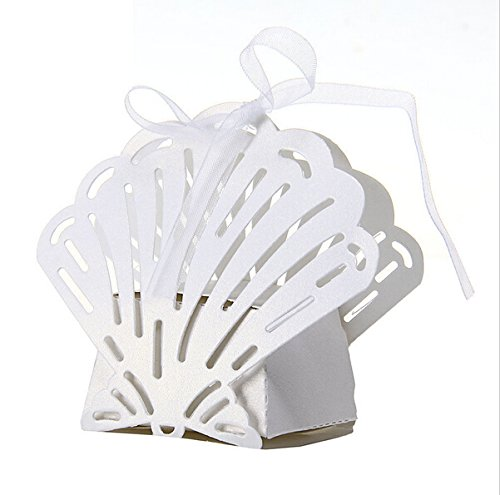 Joinwin® Pack of 50 Laser Cut Seashell Wedding Favor Box With Organza Ribbon Beach Themed Wedding Birthday Party Candy Boxes Bomboniere