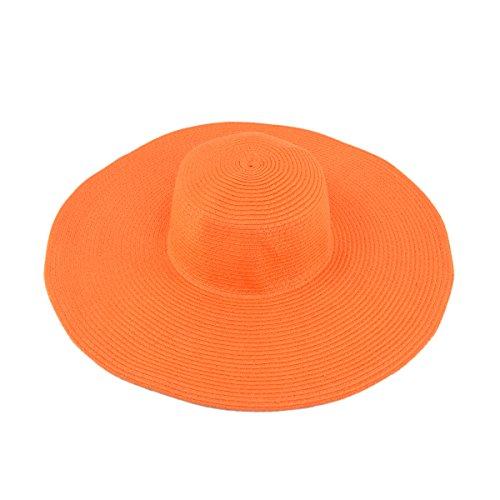 Women's Classic Solid Color Floppy Wide Brim Straw Beach Sun Hat, Orange