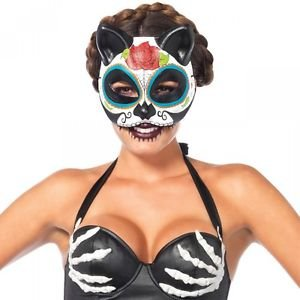 Sugar Skull Cat Mask Costume Accessory