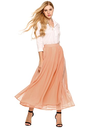 Pleat Hem Skirt (Women Retro Vintage Double Layer Chiffon Pleat Maxi Long Skirt Dress)