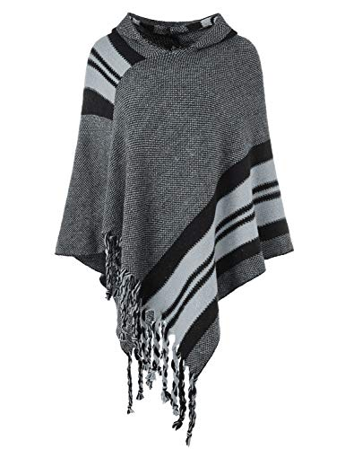 Ferand Women's Hooded Knit Striped Cape Poncho Sweater with Fringes, One Size, Grey - Hooded Knit Poncho