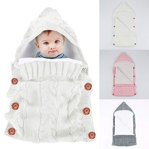 Newborn Baby Swaddle Blanket Wrap Sleeping Bags,Yinuoday Infant Toddler Thick Warm Fleece Knitted Crochet Hooded Swaddle Wrap Sleep Sack Crib Stroller Wrap for 0-12 Month New Update Design (White)