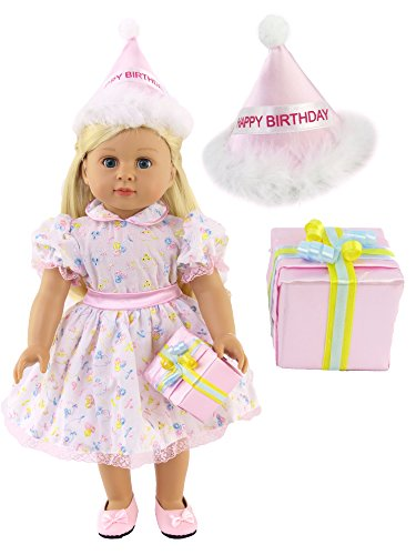 Birthday Girl Dress with Party Hat and Present | Fits 18'' American Girl Dolls, Madame Alexander, Our Generation, etc. | 18 Inch Doll Clothes by American Fashion World